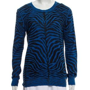 B2G1 Michael Kors Blue Zebra Pattern Crew Sweater